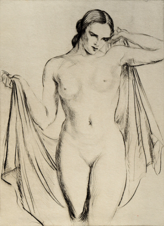 [Standing Nude with Shawl]