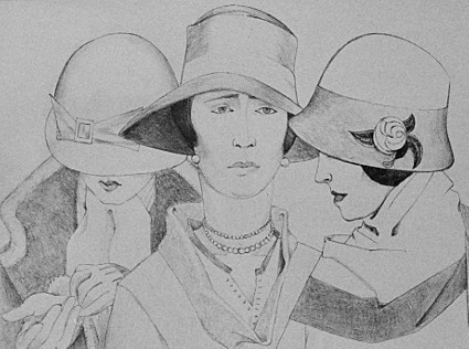 Three Women with Hats